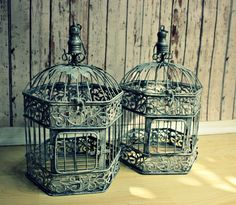 Set Of Tall Bird Cage Wedding Card Holders Vintage Cages
