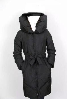e20e1b09 BCBG Maxazria Black Puffer Coat Duck Down Filled Pouf Collar Knee Length XS