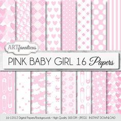 """Bambina papers sfondo bianco e rosa """"Rosa BABY GIRL"""" perno pannolino, cuori rosa, percalle, nuvole, impronte, carrozza, margherite"""