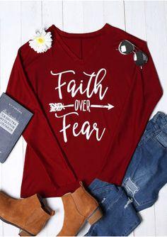 7f2cad7afdf Faith Over Fear Arrow Batwing Sleeve T-Shirt Arrow T Shirt