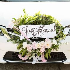 19 Likes, 2 Comments - Nhu Luong Order Of Wedding Ceremony, Our Wedding, Just Married Sign, Bridal Car, Wedding Car Decorations, Car Signs, Hairdo Wedding, Sign Design, New Beginnings