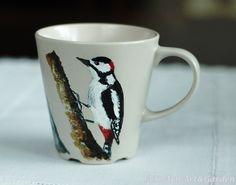 Ręcznie malowany kubek - dzięcioł / Hand painted mug - woodpecker