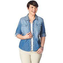 Bling Collar Denim Shirt, 9-0035877711, Bling Collar Denim Shirt Main View REG