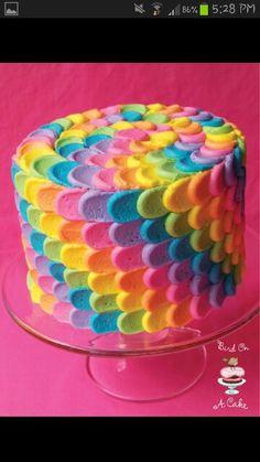 ***rainbow cake general*** Bird On A Cake: Rainbow Petal Cake {Virtual Baby Shower! Pretty Cakes, Cute Cakes, Beautiful Cakes, Amazing Cakes, Sweet Cakes, Amazing Art, Crazy Cakes, Fancy Cakes, Rainbow Petal Cake