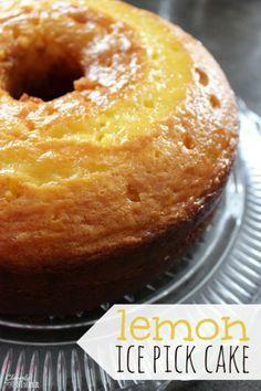 Moist Lemon Lemon Ice Pick Cake!  It's the perfect cake to serve this spring!