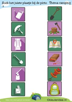 Picto's matchen 3, thema camping, kleuteridee , juf Petra, preschool camping theme, free printable.