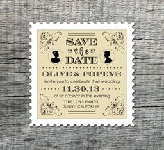 Vintage Silhouette Couple - Save the Date Magnets - Custom save the date stamp shaped magnets