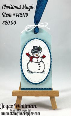 Merry Christmas Monday Week #4 - Tags, Stampin' Up! Christmas Magic and Perpetual Birthday Calendar stamp sets, Layering Oval Framelits, Stampin Stitched Framelits, Layering Square Framelits were used to make these tag.
