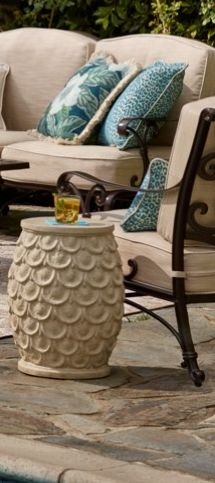 Replicating natural stone, our Scalloped Garden Stool injects earthy appeal to your outdoor living space. | Frontgate: Live Beautifully Outdoors