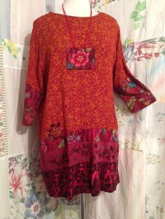 MEDIUM/LARGE Bohemian Upcycled Tunic with by FlowerChildOriginal
