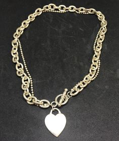 """Vintage Silver Tone HEART TAG AND TOGGLE NECKLACE  Choker 15""""  