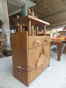 RMB 2600 Z034榆木餐边柜、雕刻、收纳柜、鞋柜、储存柜、实木、现代、简易-淘宝网