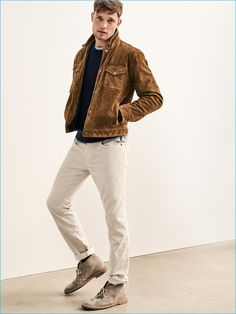 Wearing a standout piece of the season, Stefan Pollmann dons Gap's brown suede…