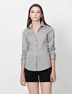LE3NO Womens Tailored Long Sleeve Button Down Shirt with Stretch at Amazon Women's Clothing store: