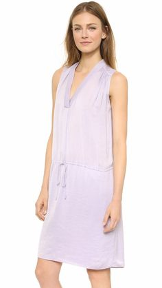 d5c81adca347 NWT Vince Shirred Shoulder in Lavender Purple Washed Satin Shift Dress L   365  Vince