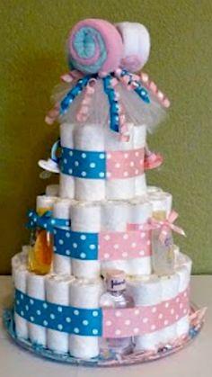 Boy/Girl Twins Diaper Cake ~ For Inspiration