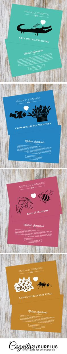 We're Symbiotic Like.... Crocs & Plovers, Ants & Fungi, Anemones & Clownfish, Bees & Flowers! Scientific love cards.