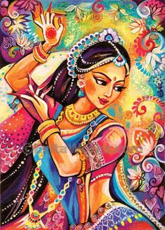 beautiful indian woman paintingindian decorfeminine by EvitaWorks