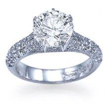 """Pomegranate"" Unique Pave Set Designer Diamond Engagement Ring with 1.00 carat F/VS accents"