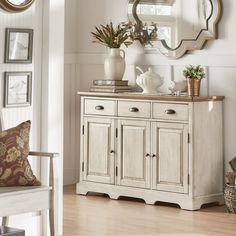 Eleanor Two-Tone Wood Cabinet Buffet Server by iNSPIRE Q Classic (Oak Top with Antique White Finish Base), Brown