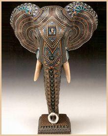Polymer Clay Art Animal Sculpture - Elephant Head