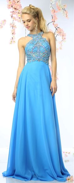 Prom Dresses Evening Dresses by CINDERELLA<BR>addCR730<BR>Full length gown with razor back and halter top covered with bead work design!