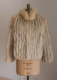 Vintage 70s Sweater Wrap Cardigan Jacket Coat Genuine Fox Fur Collar /& Cuffs Long Brown Medium Boho Hippie Fall Winter