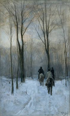 Anton Mauve, Riders in the Snow of the Woods at the Hague, c.1879, watercolour and white bodycolour on paper, 44.1 × 26.7 cm, Rijksmuseum, Amsterdam.