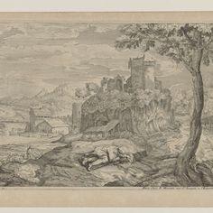 Landschap met rustende herder, op de achtergrond een rivier met brug en watermolen, Moise Jean Baptiste Fouard, after Titiaan, c. 1685 - c. 1695 - Rijksmuseum