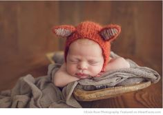 Adorable Newborn in Fox Ears Hat - 26 Newborn Photos that Will Make Your Heart Skip a Beat on I Heart Faces Photography Blog