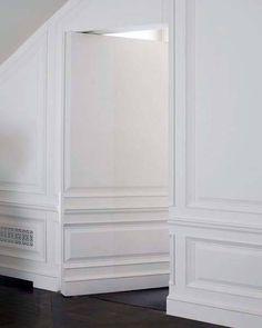 Top 50 Best Hidden Door Ideas - Secret Room Entrance Designs Wainscoting Styles, Wainscoting Panels, Wainscoting Bathroom, Painted Wainscoting, Black Wainscoting, Hidden Spaces, Hidden Rooms, Hidden Doors In Walls, Door Design