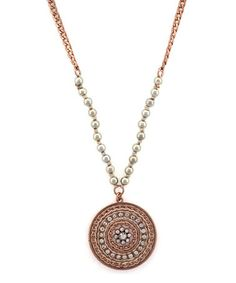 Another great find on #zulily! Pearl & Rose Gold Medallion Pendant Necklace by Jessica Simpson Collection #zulilyfinds
