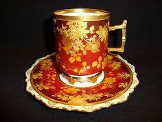 Gold Encrusted Porcelain | Exquisite Porcelain Cup & Saucer Set ~ Gold Embossed / Encrusted rose ...