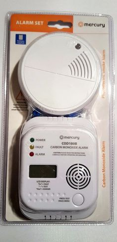 LCD Display Carbon Monoxide Alarm CO Gas Detector & Photoelectric SMOKE Set #MERCURY