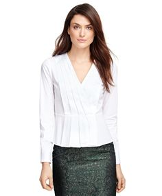 LOVE Petite White Peplum Shirt at BrooksBrothers on $ale $47.20 (was $118)