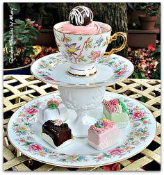 Vintage Teacup Pedestal Stand / Jewelry by GardenWhimsiesByMary, $39.00