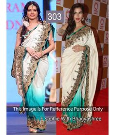 Bollywood Replica - Sophie and Bhagyashree Off-white and Blue Bollywood Style Saree- 303 Special - Bollywood Replica - Sophie and Bhagyashree Off-white and Blue Bollywood Style Saree- 303 - Prod Bollywood Sarees Online, Bollywood Designer Sarees, Sarees Online India, Bollywood Fashion, Bollywood Style, Indian Bollywood, Designer Sarees Wedding, Latest Designer Sarees, Latest Sarees