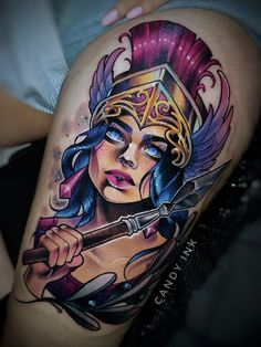 #neo #traditional #new #school #athene #girly #colorful #tattoo #pink #blue #gold #olives Do not copy my designs.