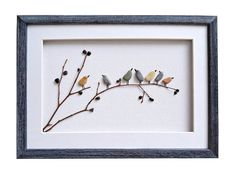 Birds wall art Pebble art birds Nursery decor by PebbleArtDream