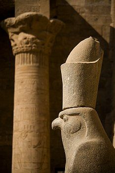 Statue of Horus outside Temple of Horus  Edfu Egypt
