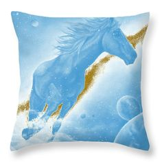 Celestial Horse Throw Pillow for Sale by Faye Anastasopoulou Nursery Wall Decor, Room Decor, Colorful Picture Frames, White Light, Light Blue, Dragonfly Decor, Bedroom Sitting Room, Magical Home, Dark Wood Stain