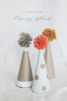 easy DIY pom pom cone hats.