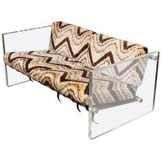 Modernist Love Seat by Milo Baughman Thayer Coggin, 1970. Lucite slab, cotton flame stitch seat.