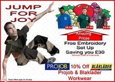 Active Workwear - Blaklader offers and Projob - free embroidery set up