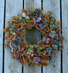 Teasel and hydrangea wreath