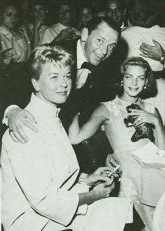 Lauren Bacall with Doris Day and Frank Sinatra at the Sands, 1955
