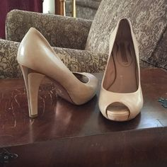 """💋Blush/Beige Leather Heels 💋The interest on these 4 1/4"""" heels are the Rose-Gold colored Leather Sole & Metal Heel Stripe. Stunning! Shoes have been gently worn. There are a few scuffs where 1/2"""" toe bed meets the sole, a small scratch on side of left heel (not the metal part), and a small water spot on outside of right heel (which you may be able to polish out, but I've never tried)-barely noticed but Im giving full disclosure. Price reflects this. Soft padded Insoles make this shoe super…"""