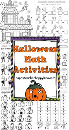 Have fun throughout October with spooky Halloween math activities! This packet includes: *15 ready to print, no prep math games to practice addition and subtraction skills *120 Chart Mystery Puzzle Picture *Haunted House Math Packet with engaging I spy activities  #halloween #mathgames #kindergarten #firstgrade