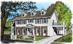 House Plan 86075   Colonial    Plan with 2914 Sq. Ft., 4 Bedrooms, 3 Bathrooms, 3 Car Garage
