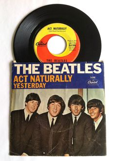 1960's Beatles 45 Record with Sleeve, Yesterday and Act Naturally